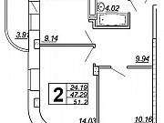 2-комнатная квартира, 51.2 м², 17/25 эт. Чебоксары