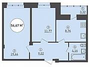 2-комнатная квартира, 56.7 м², 9/16 эт. Липецк