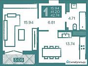1-комнатная квартира, 43 м², 6/8 эт. Калининград