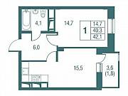 1-комнатная квартира, 42.1 м², 10/25 эт. Одинцово
