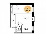 2-комнатная квартира, 63.2 м², 14/29 эт. Москва