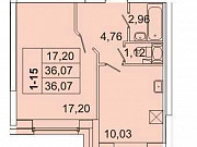 1-комнатная квартира, 36.4 м², 2/17 эт. Санкт-Петербург