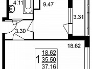 1-комнатная квартира, 37.2 м², 2/8 эт. Нахабино