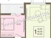 2-комнатная квартира, 42 м², 2/17 эт. Липецк