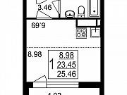 Студия, 25.5 м², 1/8 эт. Нахабино