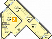2-комнатная квартира, 78.9 м², 3/16 эт. Чебоксары