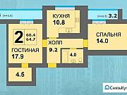 2-комнатная квартира, 65 м², 2/14 эт. Калининград