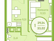 1-комнатная квартира, 29.2 м², 10/20 эт. Тюмень