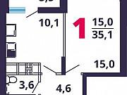 1-комнатная квартира, 35.8 м², 15/17 эт. Мытищи